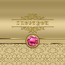 Love Ruby Red Gemstone Metallic Shiny Gold Damask by Beverly Claire Kaiya