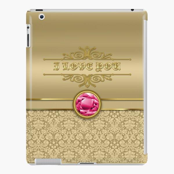 Love Ruby Red Gemstone Metallic Shiny Gold Damask iPad Snap Case