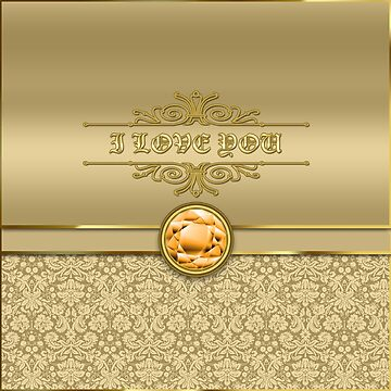 Love Orange Topaz Gemstone Metallic Gold Damask by beverlyclaire