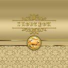 Love Orange Topaz Gemstone Metallic Gold Damask by Beverly Claire Kaiya