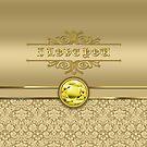 Love Citrine Yellow Gemstone Metallic Gold Damask by Beverly Claire Kaiya