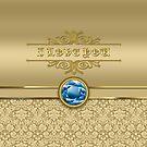 Love Sapphire Blue Gemstone Metallic Gold Damask by Beverly Claire Kaiya