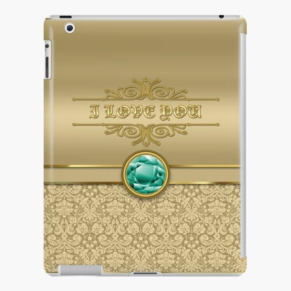 Love Emerald Green Gemstone Metallic Gold Damask iPad Snap Case