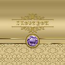 Love Amethyst Gemstone Metallic Shiny Gold Damask Valentine by Beverly Claire Kaiya