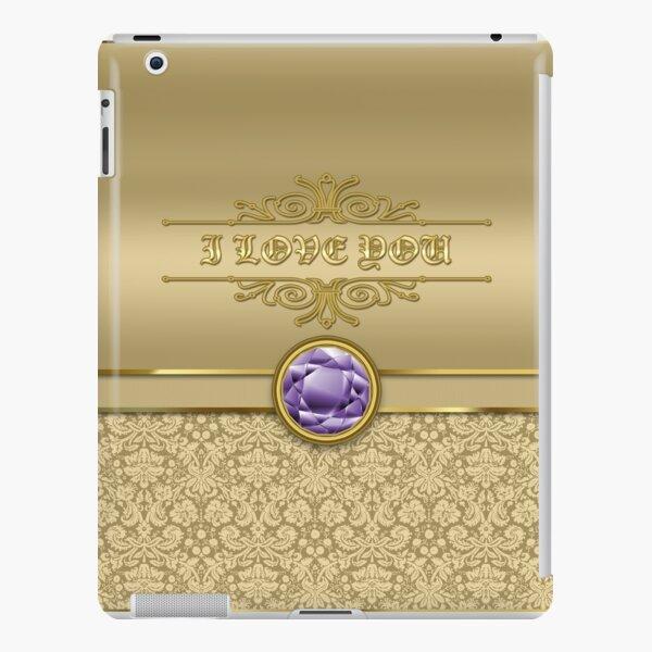 Love Amethyst Gemstone Metallic Shiny Gold Damask Valentine iPad Snap Case