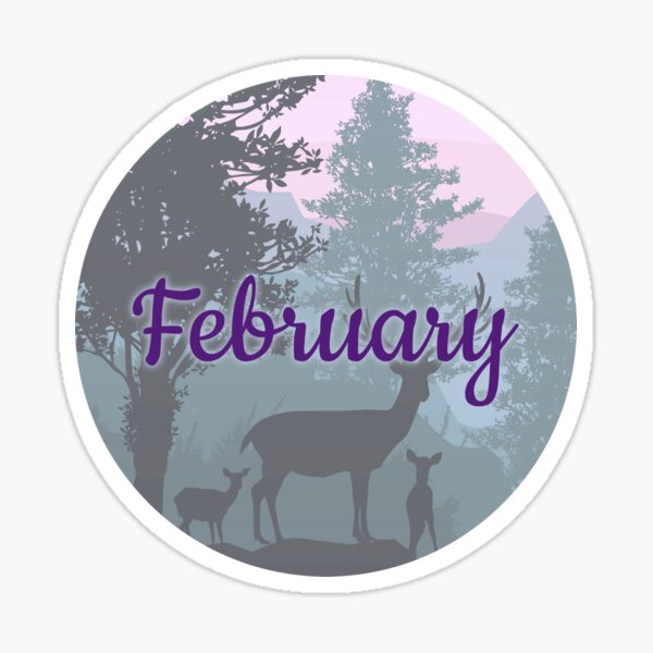 February monthly image for bullet journals & greeting cards Sticker