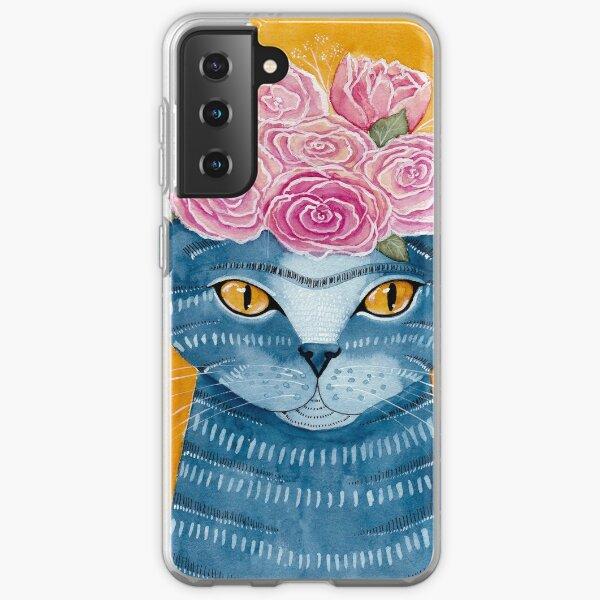 Blue Cat with Flower Crown Samsung Galaxy Soft Case