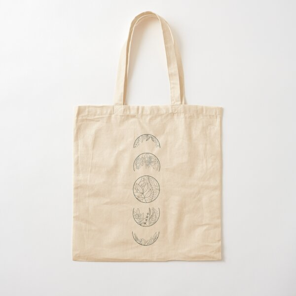 Plant Moon Phases - dark Cotton Tote Bag