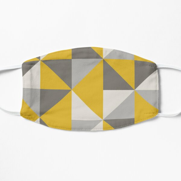 Diseño de triángulo retro en amarillo y gris Mascarilla