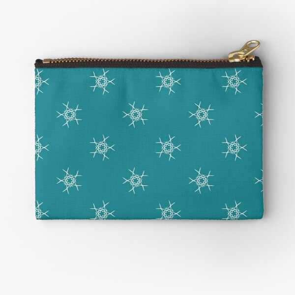 White snowflakes seamless pattern on blue-green background Zipper Pouch