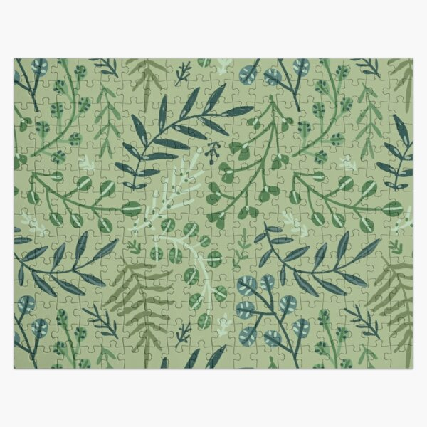 green leaves. leaf. nature. wild floral flowers Jigsaw Puzzle