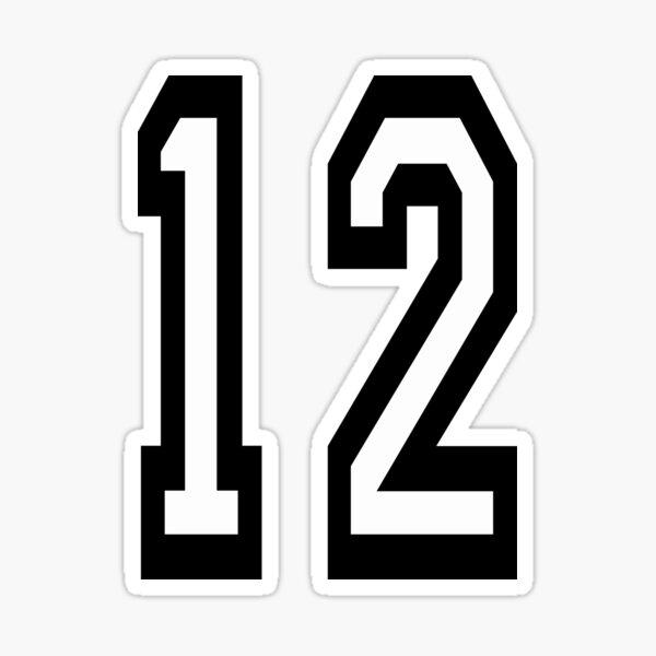 12. 12th. TEAM SPORTS, NUMBER 12, TWELVE, TWELFTH, Competition. Sticker