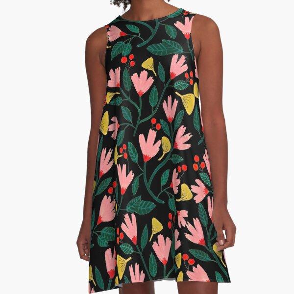 Pink Florals on Black A-Line Dress
