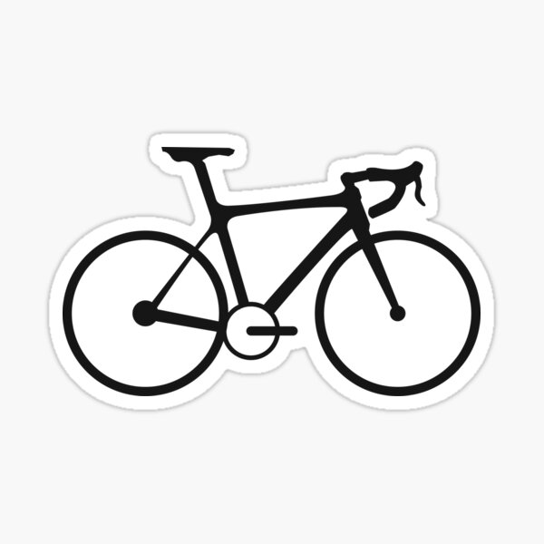 Racing Bike. Road Bike, Racing bicycle, Black on White. Sticker