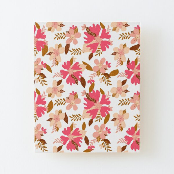 Retro Floral Wood Mounted Print