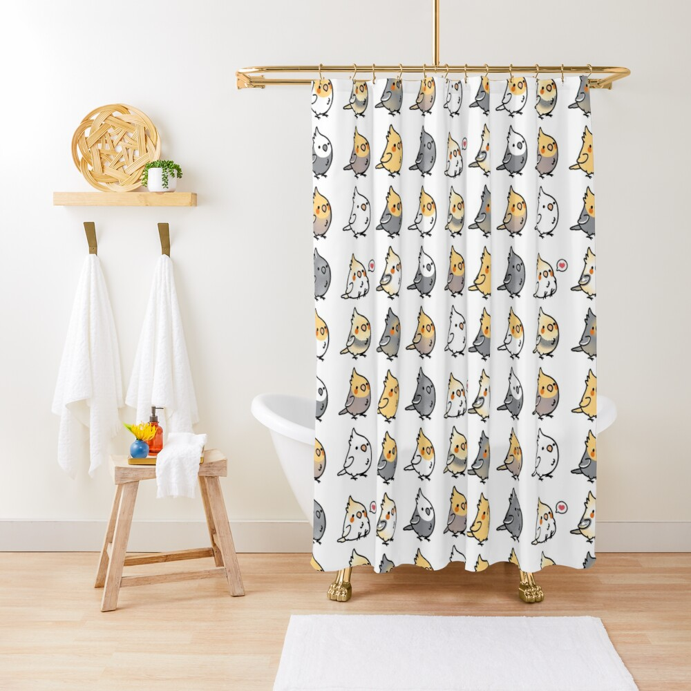 Chubby Cockatiel Collection Shower Curtain