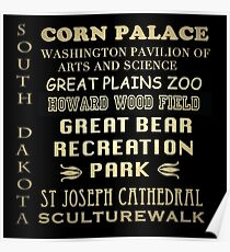 South Dakota Famous Landmarks Poster