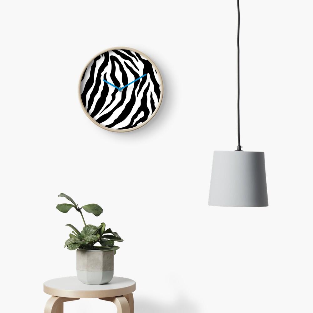 Zebra Pattern Black & White Clock