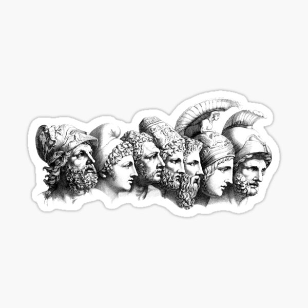 Heroes of The Iliad (line style) Sticker
