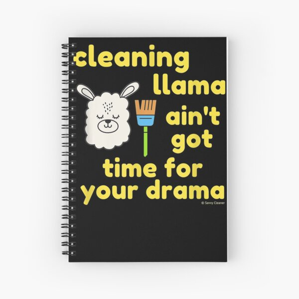 Cleaning Llama, Cleaning Crew Humor, Busy Mom Housework Spiral Notebook