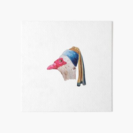Duck With A Pearl Earring Art Board Print