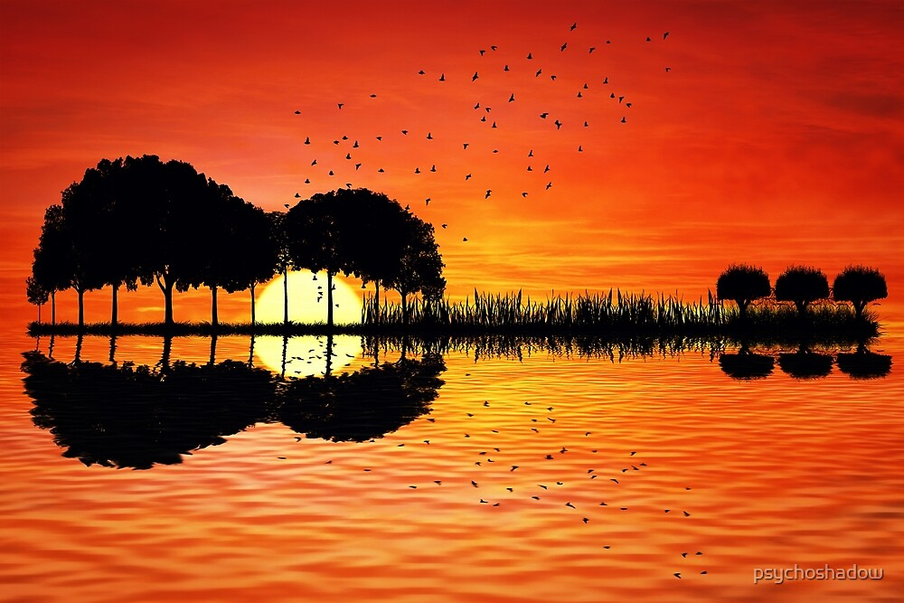 Guitar Island Sunset By Psychoshadow Redbubble