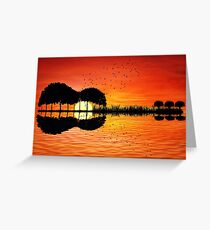 guitar island sunset Greeting Card