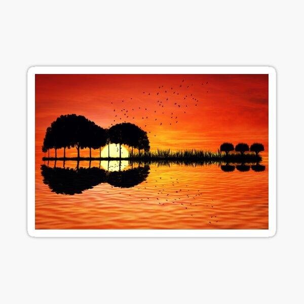 guitar island sunset Sticker