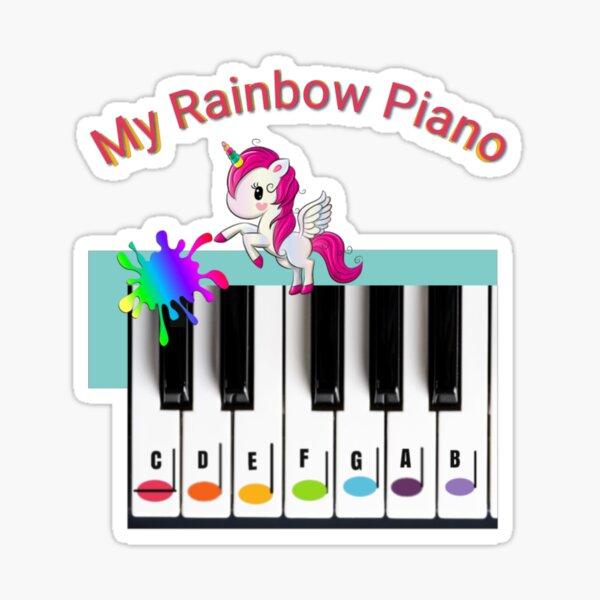 My Rainbow Piano Notes Music Alphabet Unicorn Sticker