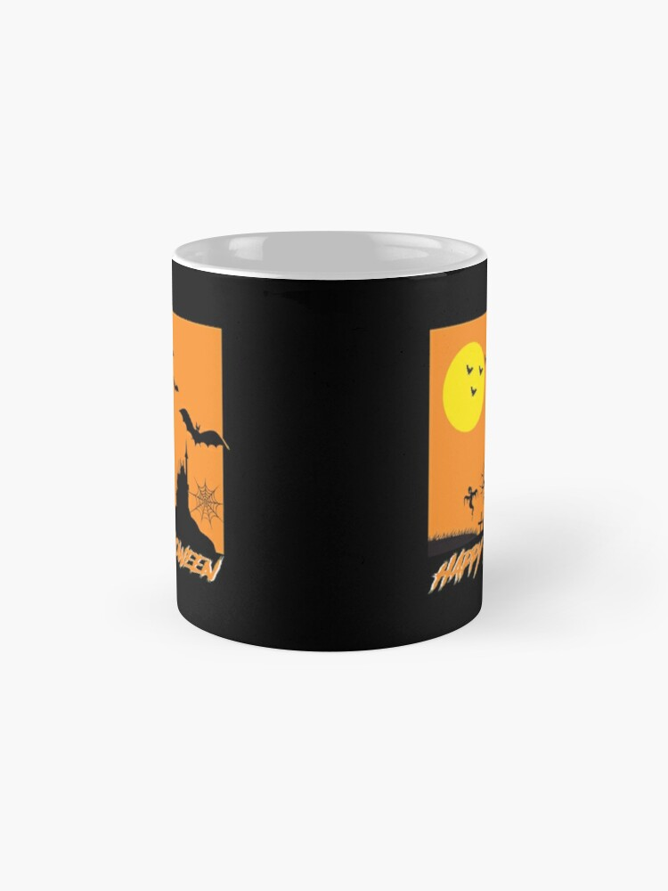 Alternate view of Moonlit Haunted House Ghost Bat Cobweb Gravestone. Mug