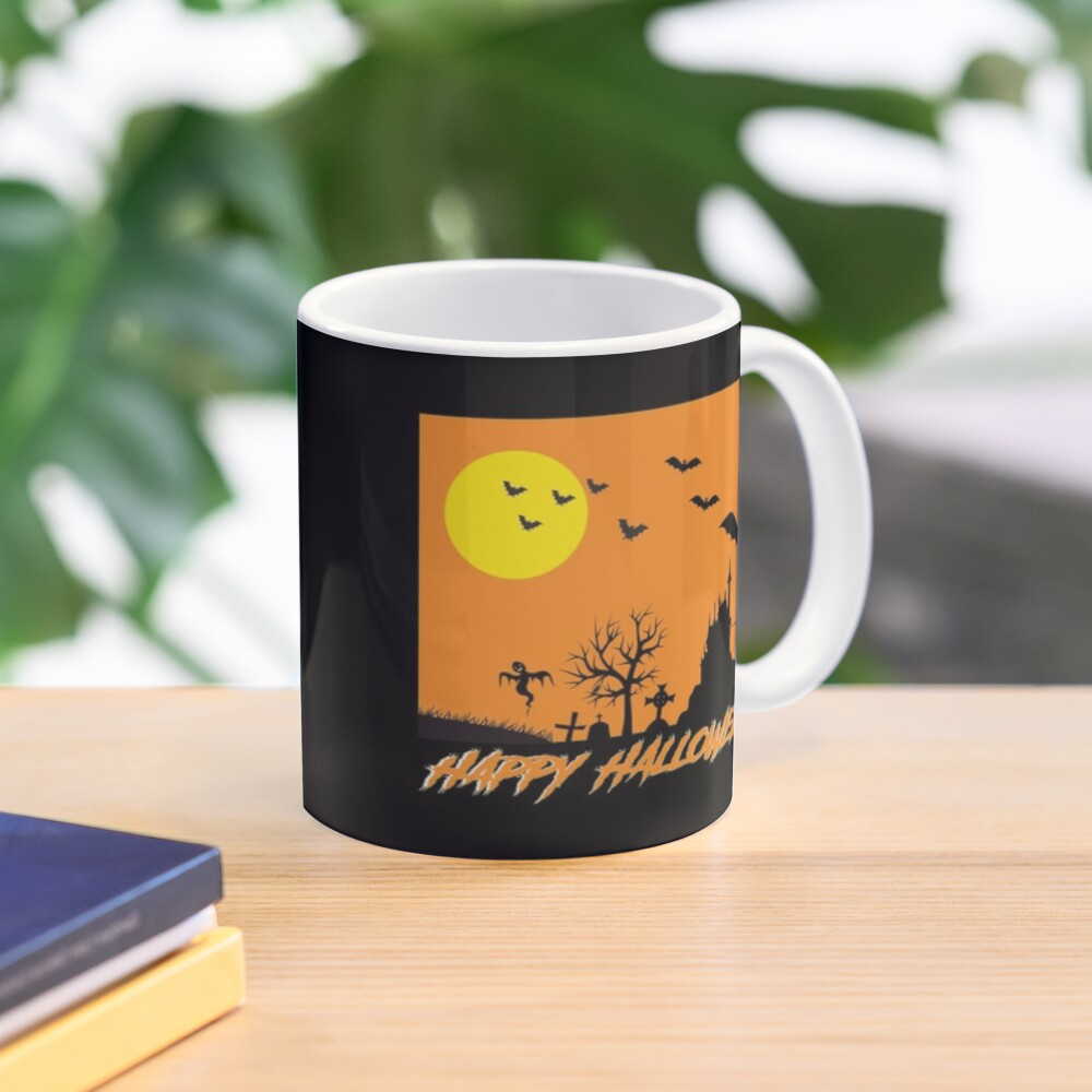 Moonlit Haunted House Ghost Bat Cobweb Gravestone. Mug