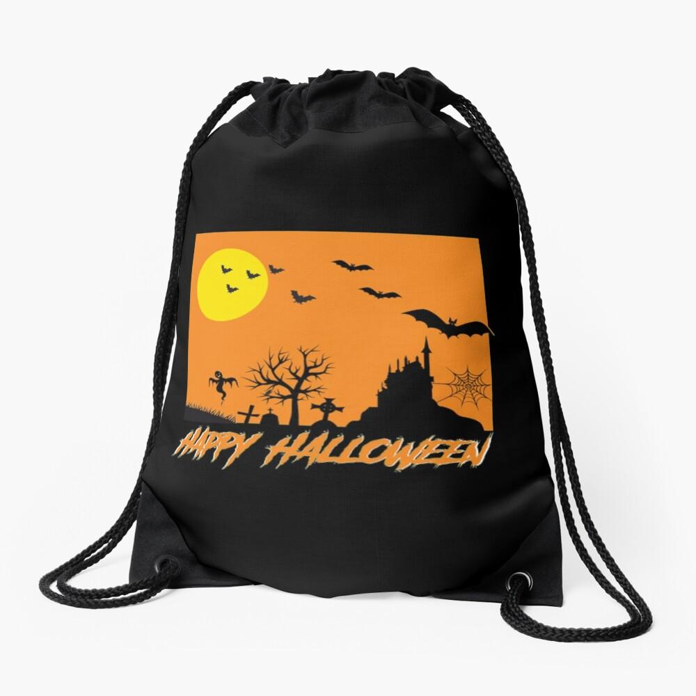 Moonlit Haunted House Ghost Bat Cobweb Gravestone. Drawstring Bag