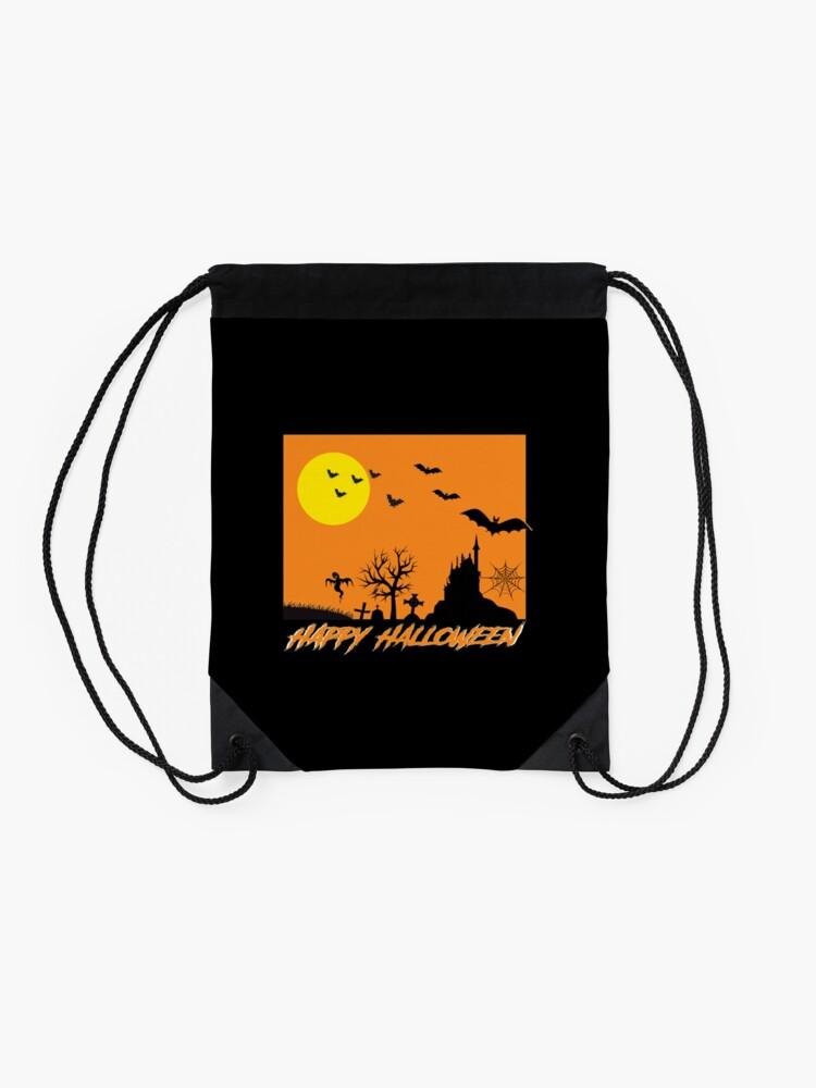 Alternate view of Moonlit Haunted House Ghost Bat Cobweb Gravestone. Drawstring Bag