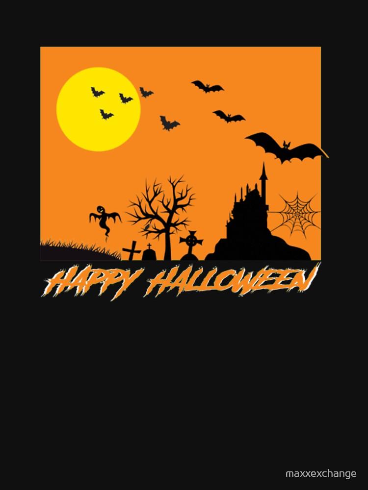 Moonlit Haunted House Ghost Bat Cobweb Gravestone. by maxxexchange