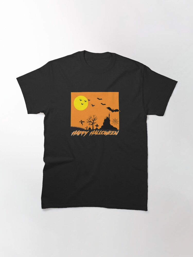 Alternate view of Moonlit Haunted House Ghost Bat Cobweb Gravestone. Classic T-Shirt