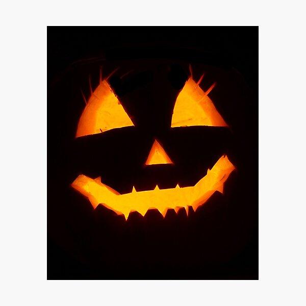 Spooky Jack-o-Lantern Face Photographic Print