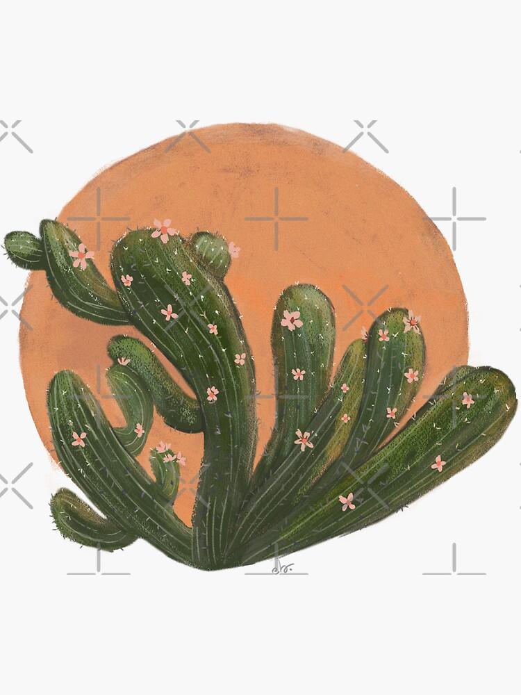 Cactus Blooms in a Desert Sunset_ pastel painting by ebozzastudio