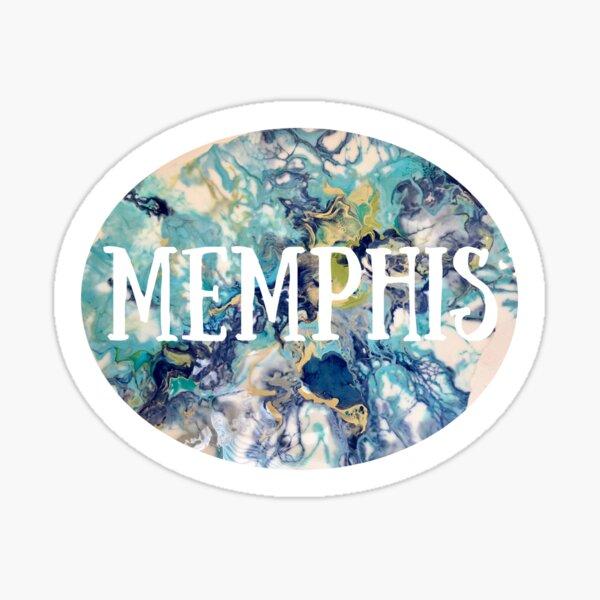 Memphis Blue-Green Paint Pour Sticker