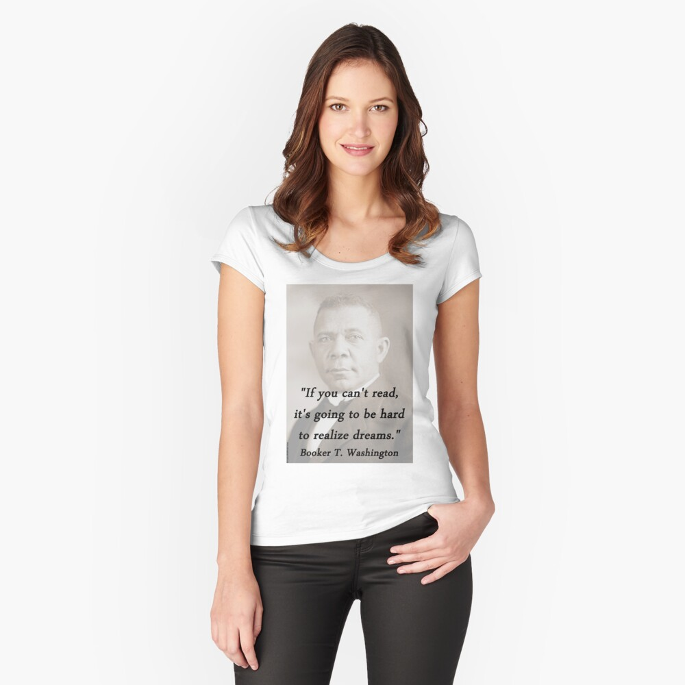 Cant Read - Booker T Washington Women's Fitted Scoop T-Shirt Front