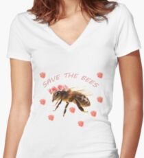 Save The Bees Women's Fitted V-Neck T-Shirt