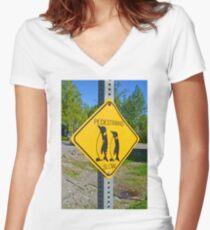 Slow Pedestrians Women's Fitted V-Neck T-Shirt