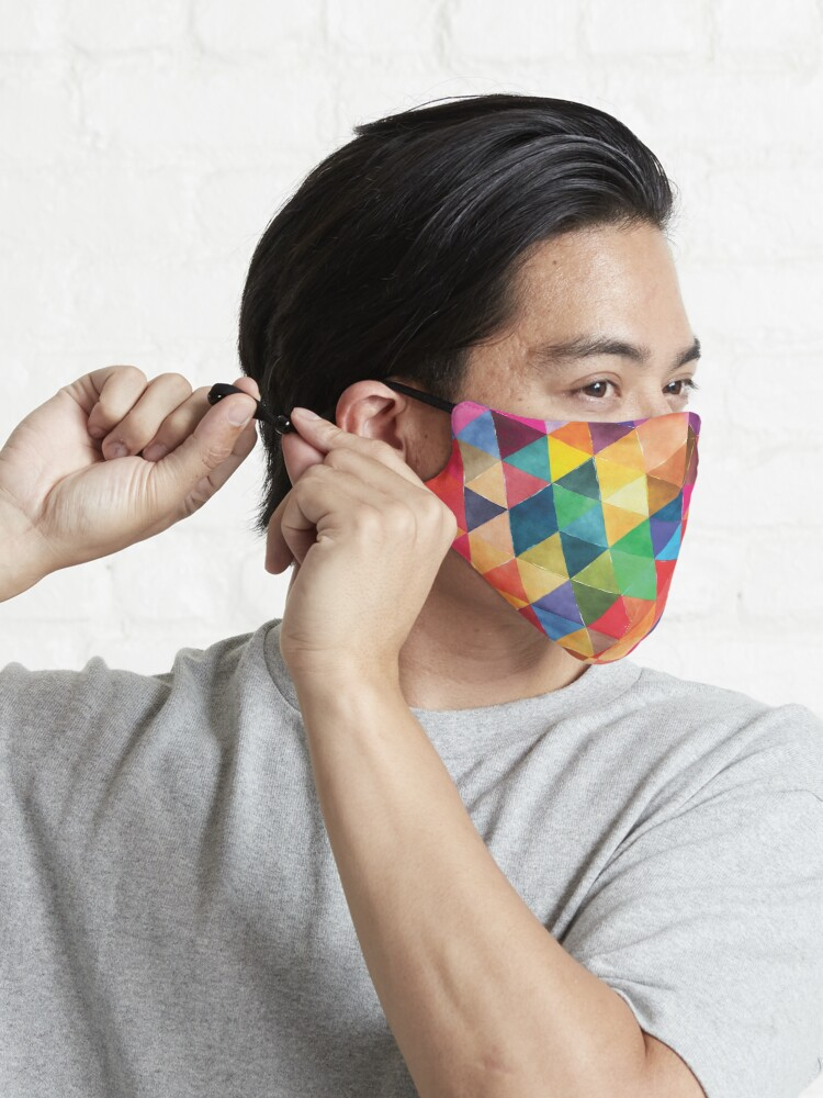 Alternate view of Watercolor Triangles Pattern Bright Colors Mask