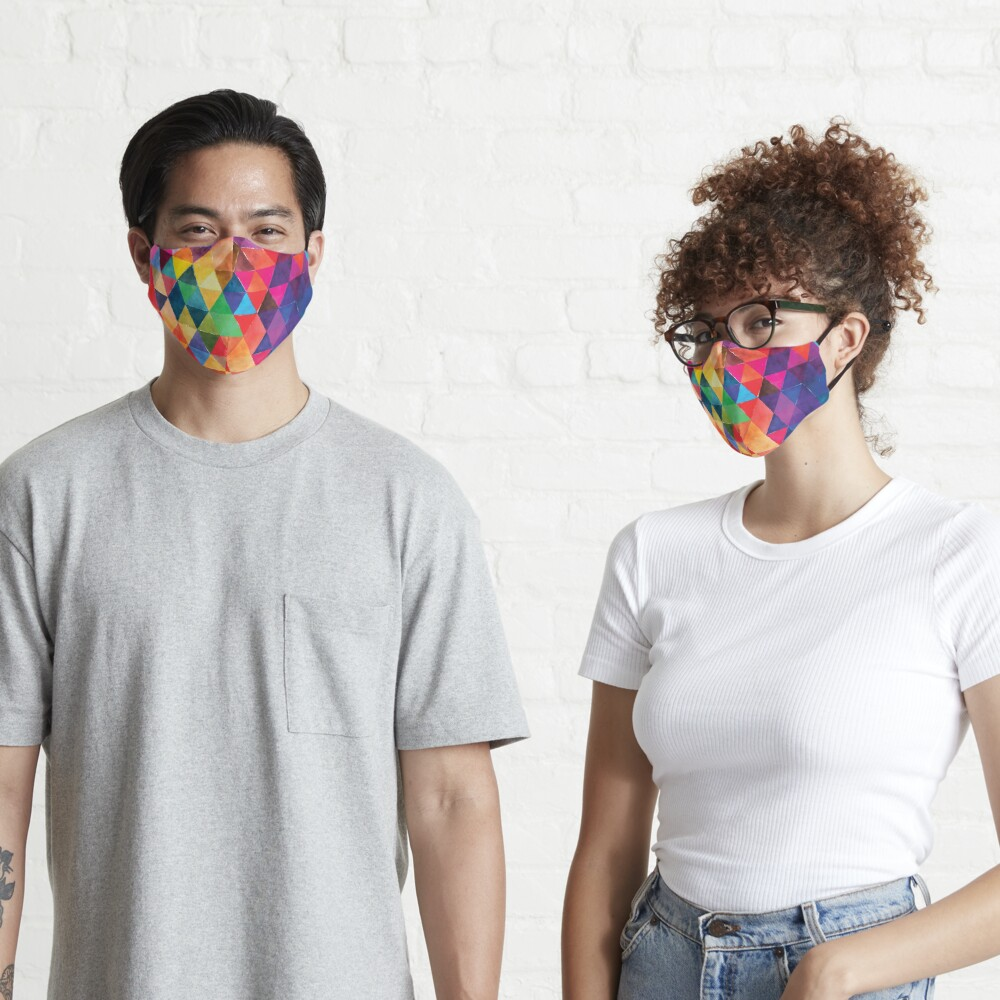 Watercolor Triangles Pattern Bright Colors Mask