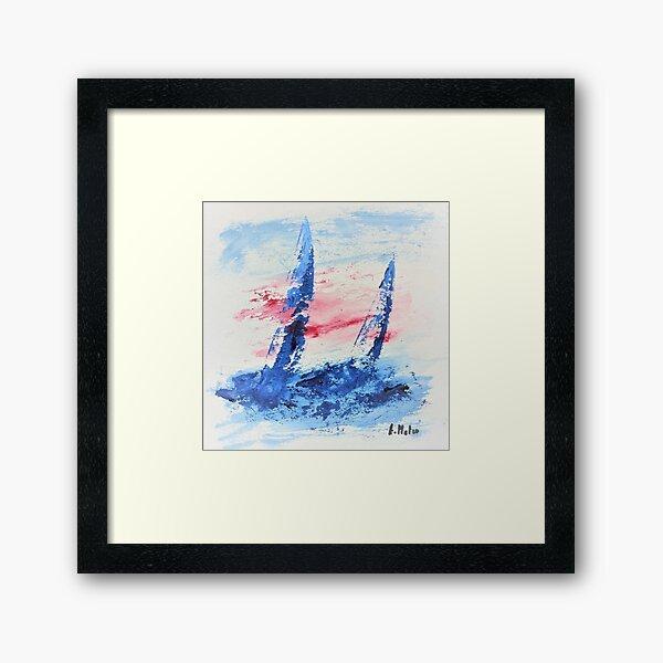 voiliers au vent - art nautique Impression encadrée