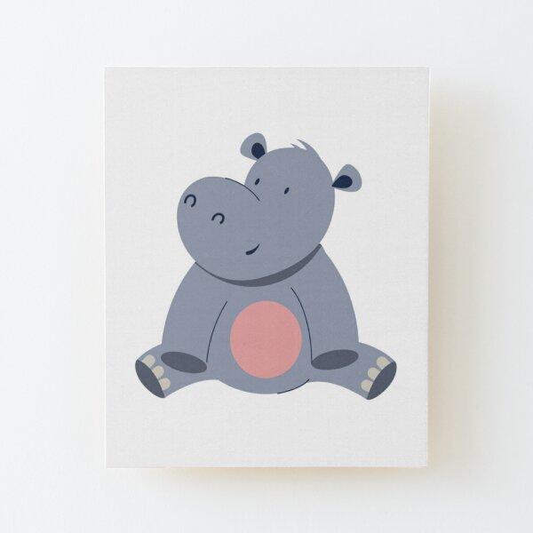 cute hippo Wood Mounted Print