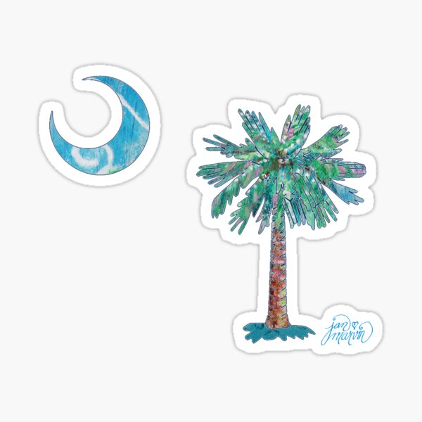 Palmetto Tree and Moon by Jan Marvin Sticker
