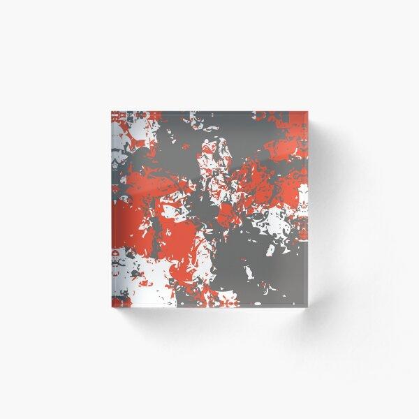 Pewter & Mandarin Red  Acrylic Block
