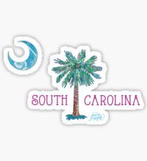 South Carolina Palmetto Tree and Moon by Jan Marvin Sticker