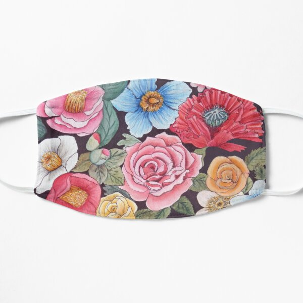 Bees and flowers, Floral art, ft poppies, roses, camellia in watercolor Mask