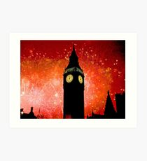 Big Ben - New Years Eve Fireworks 2010 -  2011 - HDR Art Print